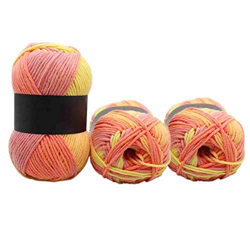 Gramm Chunky Milchgarn Farbe Farbverlauf Baumwolle weiche Nadeln für häkeln Stricken manuelle Wolle gewebt Baby Pullover Schal Decke Strickwaren Orange Gelb ()