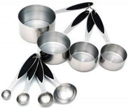 Daily Kitchen Messbecher & Messlöffel Set aus Edelstahl mit Silikon Griff Löffel Set 10-teilig