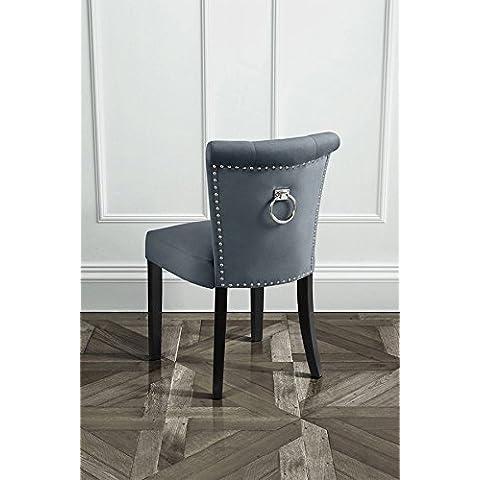 MY-Furniture – POSITANO - Silla de comedor tapizada de alta calidad, de color gris humo, con botones y argolla en la parte posterior del