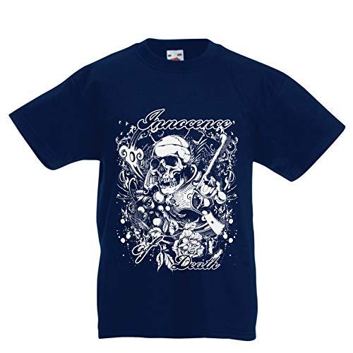 lepni.me Kinder Jungen/Mädchen T-Shirt Unschuld des Todes - Skull Art, Schwermetall-Grafik (3-4 Years Dunkelblau (Toy Story 2019 Halloween)