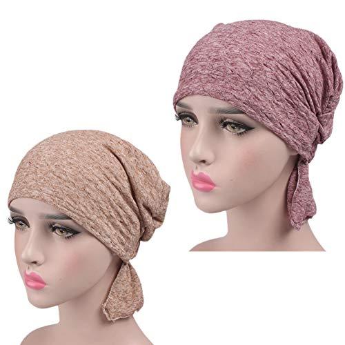 ZYCC Berretto da donna turbante Copricapo Berretto chemisier Sciarpa a  testa con cappuccio Bandana Ruffle Beanie 1fa8fcee590e