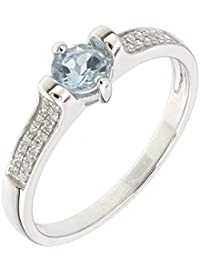 dad8fbb51 BL Jewelry Sterling Silver Geuine Natural Aquamarine & White Topaz  Solitaire Statement Ring