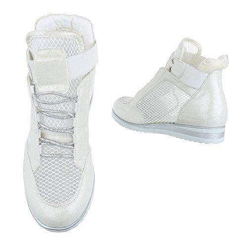 Damen Schuhe Freizeitschuhe Perforierte High Top Sneakers Turnschuhe Schwarz Weiß