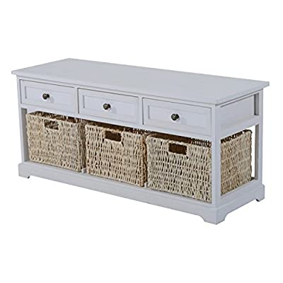 HOMCOM Storage Table Living Room Furniture Coffee Table Wooden Bench Wood Home W/ 3 Seagrass Wicker Storage Baskets 3 Drawers