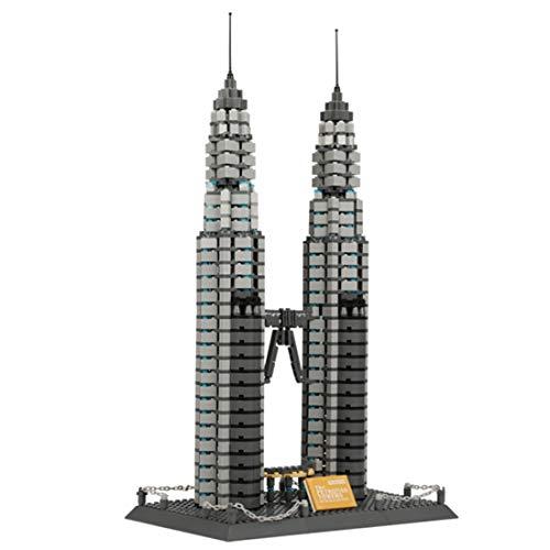 YxFlower 1160 Stück Custom Architektur Spielzeug - DIY Puzzle Bausatz Modell Baukasten Kompatibel mit großen Marken Militär Baustein - Petronas Twin Towers