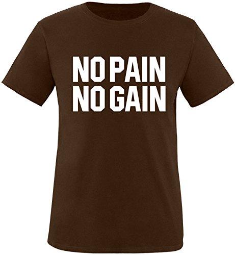EZYshirt® No Pain No Gain vol. 3 Herren Rundhals T-Shirt Braun/Weiss