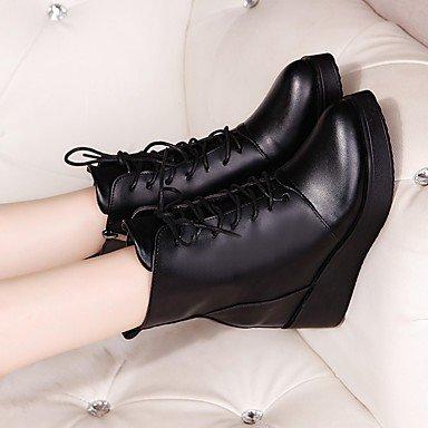 GLL&xuezi Da donna Stivaletti Scarpe formali PU (Poliuretano) Autunno Casual Formale Footing Lacci Zeppa Nero 7,5 - 9,5 cm black