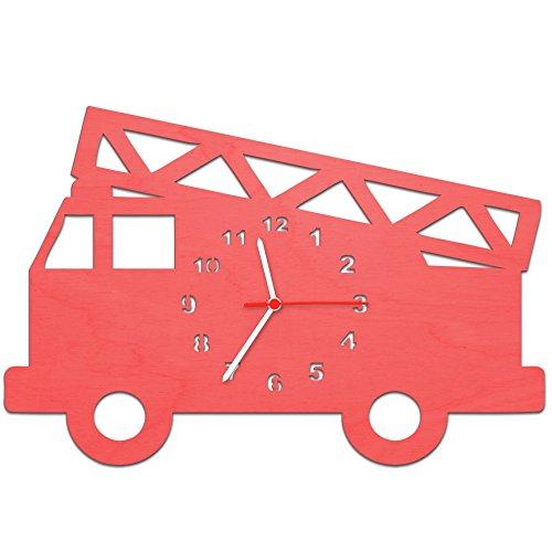 Kinder Wanduhr aus Holz im Feuerwehrauto Design für Mädchen & Jungen Kein Ticken Lautloses Uhrwerk 30 cm Groß in 5 Farben erhältlich Made in Germany Farbe Rot