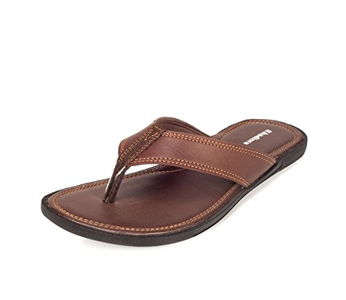 Khadim's Men's Brown Faux Leather Slippers - 9  available at amazon for Rs.359