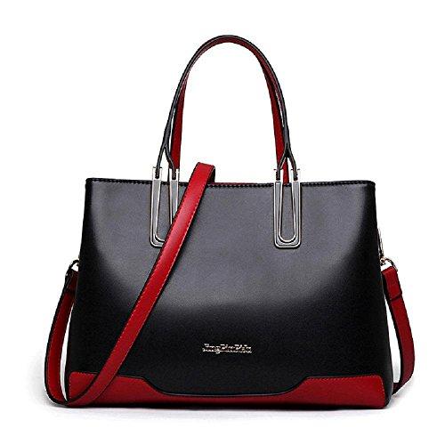 borse europee e americane in pelle colore di colpo moda borsa in pelle di grandi dimensioni spalla casuale diagonale pacchetto portatile Ms. , black