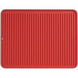 iDesign égouttoir à vaisselle, grand tapis égouttoir en silicone, tapis égouttoir vaisselle rainuré pour séchage des couverts et assiettes, rouge