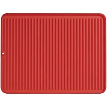 InterDesign Lineo Tapete escurridor, alfombrilla escurreplatos grande de silicona para secar cubiertos y vajilla, rojo