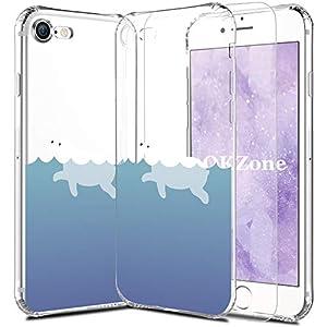 OKZone iPhone 8 / iPhone 7 Hülle mit Displayschutz, Transparente Handyhülle mit weichem TPU Ultra dünne Schutzhülle mit Tiermotiv für iPhone 8 / iPhone 7 4,7″ (Delphin 1)