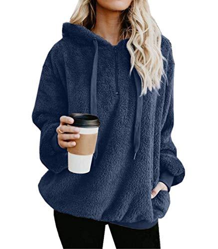 ZIYYOOHY Damen Casual Winter Kapuzenpullover Teddy-Fleece Langarm Oversize Sweatshirt Hoodie Einfarbig Warm (Größe:S- Bis -3XL) (M(38), Dunkelblau) (Frauen Teddy)