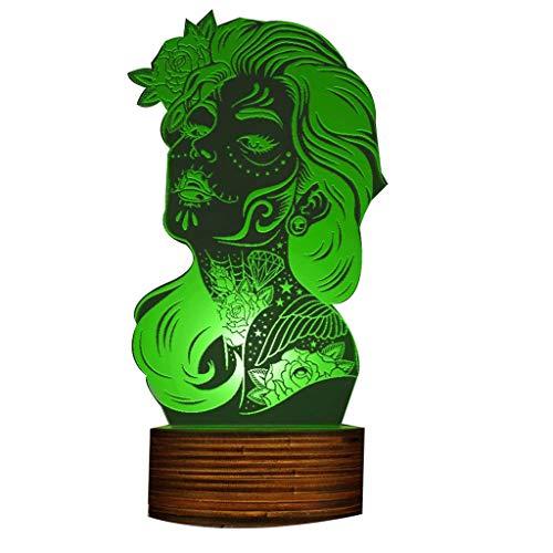 Tag der Toten 3D Nachtlicht, Mädchen Zucker Schädel LED Tischlampe Dia De Los Muertos Halloween Atmosphäre Beleuchtung Dekor Geschenk