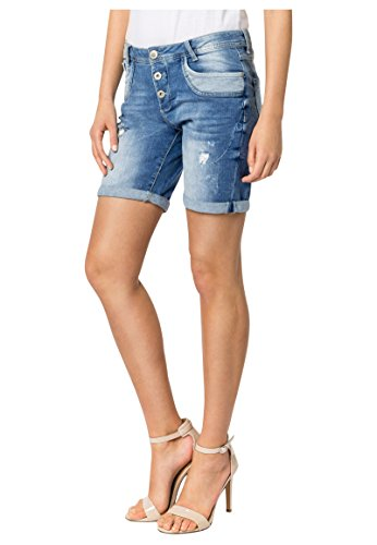 SUBLEVEL Damen Shorts | Blaue Jeans Bermuda mit Destroyed Parts im Boyfriend-Style blue S (Shorts Fit Loose Jean)