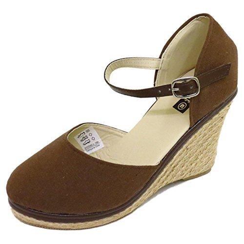 Damen Braun Sackleinen Sommer Strappy Wedge Espadrilles Sandalen Schuhe Größen 3-8 (Schuhe Sackleinen)