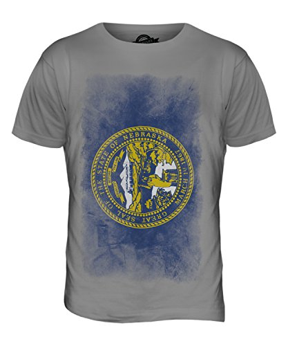 CandyMix Bundesstaat Nebraska Verblichen Flagge Herren T Shirt Hellgrau
