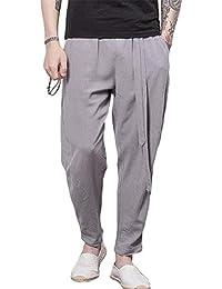 Los Pantalones Elásticos De La Cintura De Los Pantalones Hombres Ropa  Harems del Verano del Color Sólido Pantalones De Lino con Los… 0c57ba65ad0
