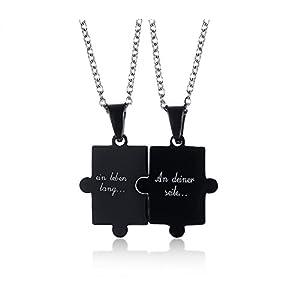 MPRAINBOW Paar Edelstahl-mit Deutscher Sie Mir Pendent Halskette Set