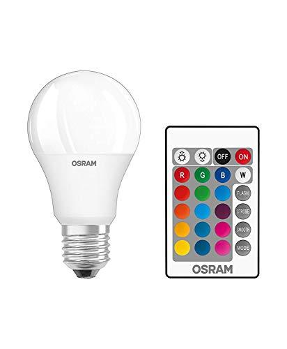 Osram LED Star+ Classic A RGBW Lampe En Forme D'Ampoule Avec Base E27, Intensité Réglable Et Contrôle Des Couleurs Par Télécommande, Remplace 60 Watts, Blanc Chaud - 2700 Kelvin, Lot De 2