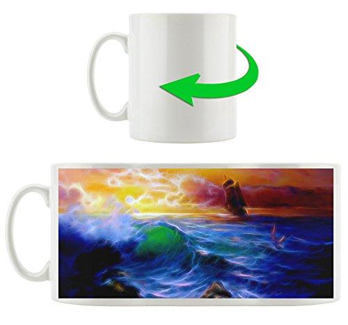 Sturm über dem Meer abstrakt, Motivtasse aus weißem Keramik 300ml, Tolle Geschenkidee zu jedem Anlass. Ihr neuer Lieblingsbecher für Kaffe, Tee und Heißgetränke. -