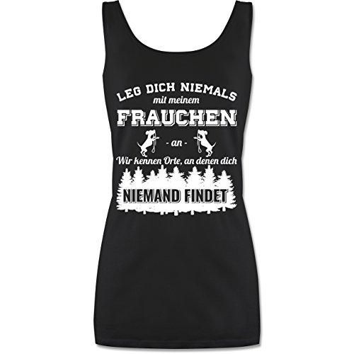 Hündin Tank (Shirtracer Hunde - Leg Dich Niemals mit Meinem Frauchen an - XL - Schwarz - P72 - lang-geschnittenes Tanktop für Damen)