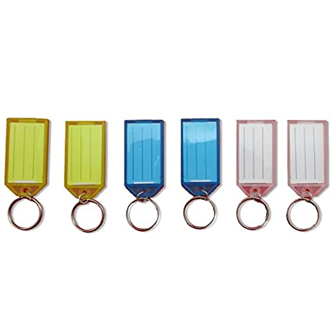 Brand New 6-12 KEY TAG KEYRINGS with 3 Different Colours Blue White Yellow Coloured Name Card Split ID Dog Hotels Plastic Chain Label Fob Logo Car Home Garage School