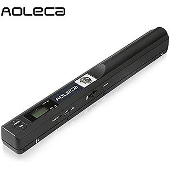 Mini Scanner de Poche Aoleca 900 DPI Resolution Portable sans Fil Sélection de Format JPG/PDF (USB 2.0 Haute Vitesse, Carte Micro SD 8G et Logiciel OCR inclus)