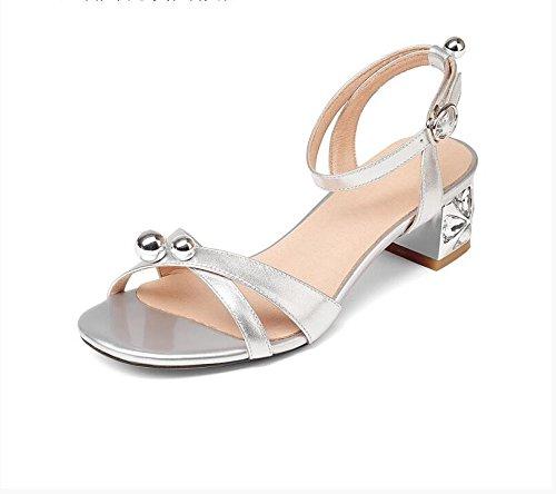 XY&GKFrauen mit dickem Leder Sandalen mit einem komfortablen All-Match Crystal kleine Schnalle Sandalen Code, komfortabel und schön 35 Silver