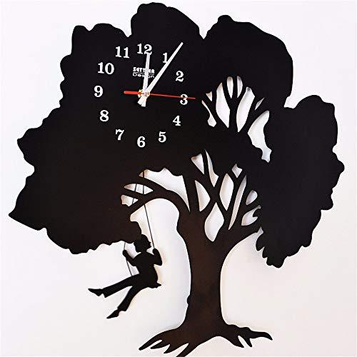 BAIJJ Iron Trees Trees Uhren Girls Swing Swing Silhouettes Uhren Uhren 50 * 46CM