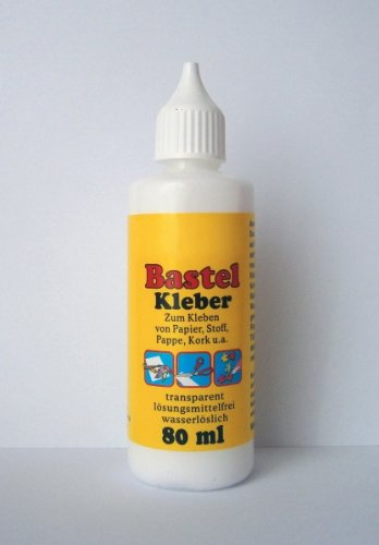 BASTEL KLEBER 80ml transparent Bastelkleber Bastel Klebstoff universal Stoff 01