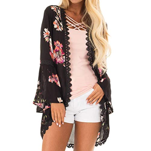 Lazzboy Womens Chiffon Floral Print Lace Long Flare Sleeve Tops Kimono Coverup Smock Cardigan