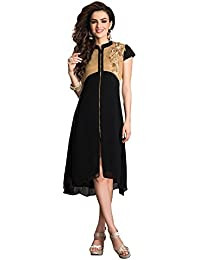 Jaune Black Full Length Zipper Designer Anarkali Kurti