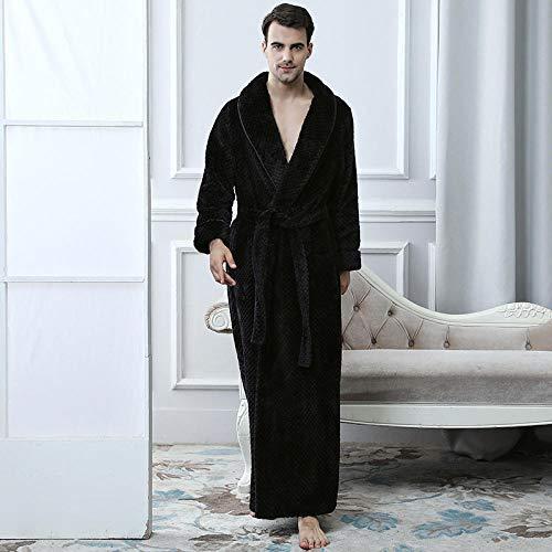 Morgenmäntel für Damen und Herren mit langem weichen, Flauschigen Flanell-Pyjama warm Home Service, schwarz XL (70-100 kg) -