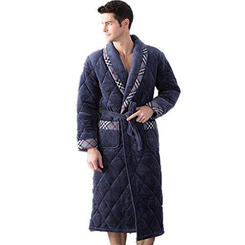 DMMSS Herren Winter Schlafanzug Coral Fleece Bademantel Flanell Home Service dicker warmer Nachthemd . brown . (Browns Kostüme Plains)