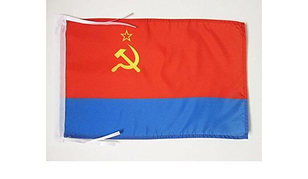 BANDIERINA RSS di Ucraina 30 x 45 cm cordicelle AZ FLAG Bandiera Repubblica SOCIALISTA Sovietica Ucraina 1918-1991 45x30cm