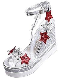Sandalias mujer, ❤️Amlaiworld Sandalias de cuña de plataforma de mujer Sandalias de vestir Calzado Tacones altos Cinco estrellas zapatillas de playa Mujer Zapatos de tacón fiesta (Plata, 37)