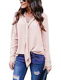 cea51f2a3af7 Yidarton Women V Neck Chiffon Long Sleeve Solid Color Casual Tops Shirts  Blouse
