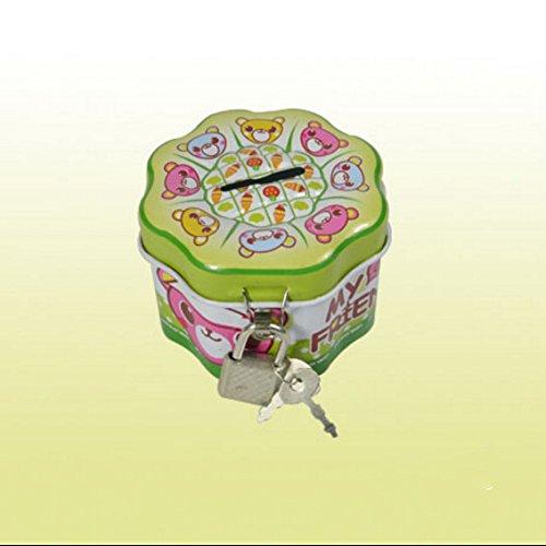 YOIL Decor Tirelire Tirelire Boîtes Cadeau Tirelire intéressante Side Side Box Tout Neuf Boîte en Fer-Blanc avec Serrure (Vert) YOIL