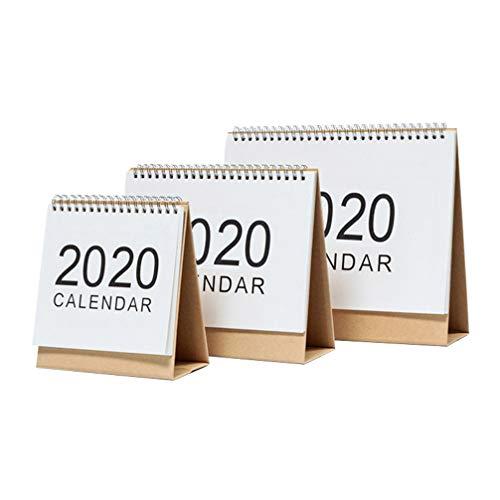 NUOBESTY calendrier de table 2020 calendrier mensuel de table avec calendrier à chevalet calendrier à feuilles mobiles pour maison bureau 3 tailles 3 pièces