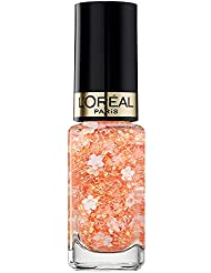 L'Oréal Paris Color Riche Le Vernis Top Coat Flower Bohème Glitzer Nagellack / Glänzender Überlack mit Schimmereffekt in blumigem Orange/ 936 Coachella / 1 x 5ml