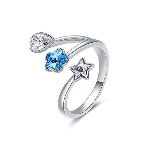 Knsam ring per donne heart star flower cristallo di swarovskis inlaid nozze nuziale nozze regalo bianco