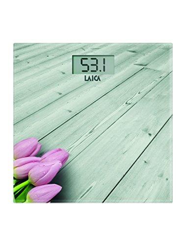 Laica Bilancia PS1065 Pesapersone Elettronica, 180 kg, vetro temperato con serigrafia legno chiaro con fiore