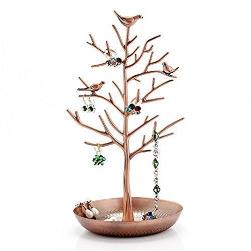 Meshela espositore porta gioielli, a forma di albero, per collane e orecchini, base metal, colore: bronze, cod. 25053