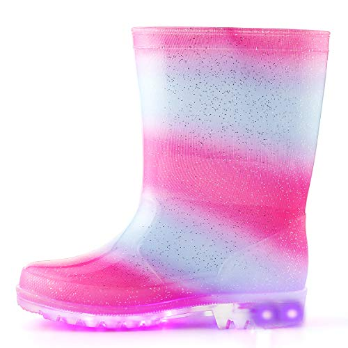 K KomForme Kids Light-Up Rain Boots, Flashing Wellies Wellington for Girls and Boys Size 5-13 1-2
