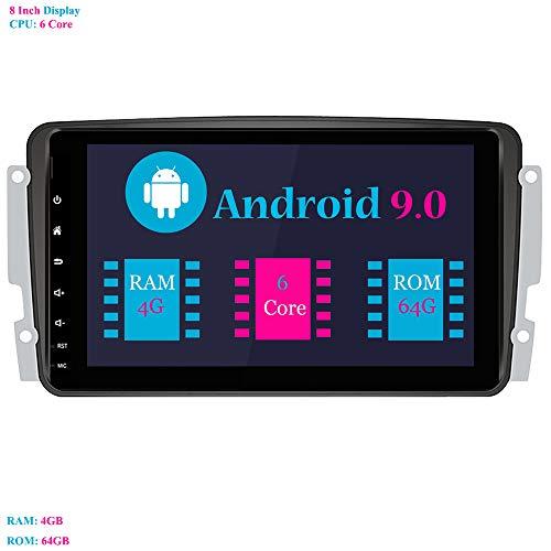 Android 9.0 Autoradio, Hi-azul Car Radio 8 Zoll Car Stereo RAM 4G ROM 64G GPS Navigation Moniciver Navi für Mercedes-Benz CLK-W209 C209/ C Class W203/ Viano/Vito/A-Class (Autoradio) Android 4.0.4 Dual-core