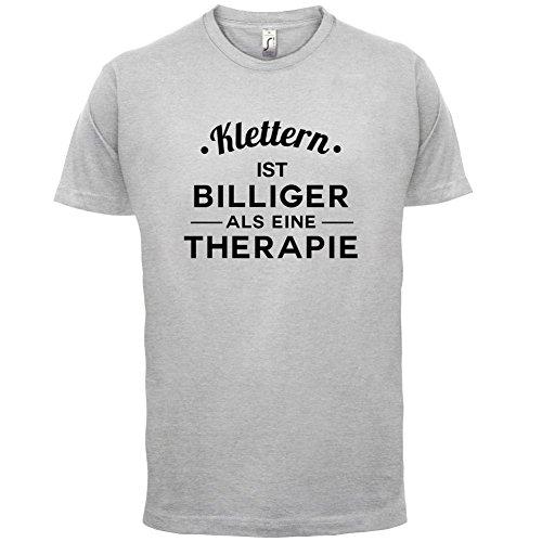 Klettern ist billiger als eine Therapie - Herren T-Shirt - 13 Farben Hellgrau