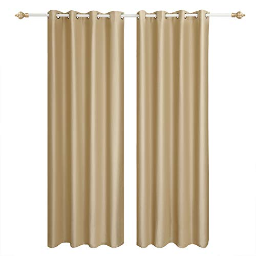 SONGMICS Cortinas 2 Piezas Blackout Curtain Opaca con Ojales 145 x 245