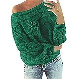 iYmitz Hipster Damen Multicolor Striped Flower Pullover lässig gestrickt Lose Langarm Pullover(M,Grün)